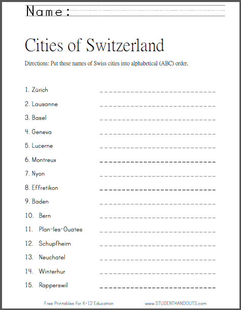 Swiss Cities in ABC Order Worksheet - Free to print (PDF file).