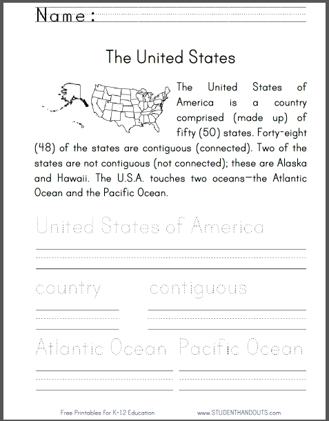 picture relating to 50 States Activities Printable called United Suggests Geography Standard Worksheet Scholar Handouts