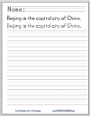 China Handwriting and Spelling Practice Worksheets