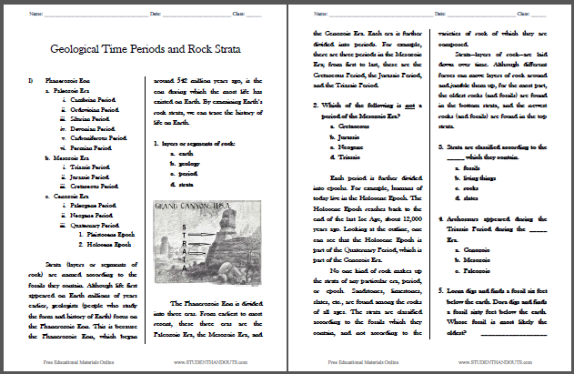 Geological Time Periods and Rock Strata Worksheet - Free to print (PDF file) for upper elementary students.