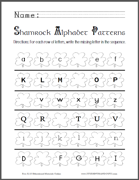 Shamrock Alphabet Patterns - Worksheet is free to print (PDF file) for kindergarten students.