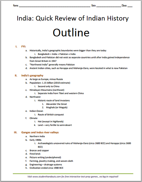 Overview History of India Outline - Free to print (PDF file).