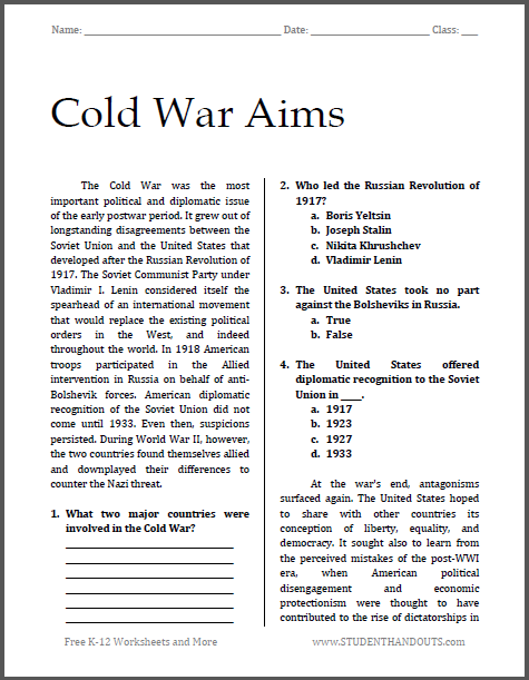 Cold War Aims Reading with Questions for High School United States History Students (PDF File)