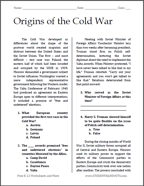 Origins of the Cold War - Free printable reading with questions (PDF file) for high school United States History students.