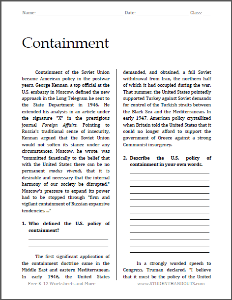 Containment in the Cold War - Free printable reading with questions for U.S. History classes.