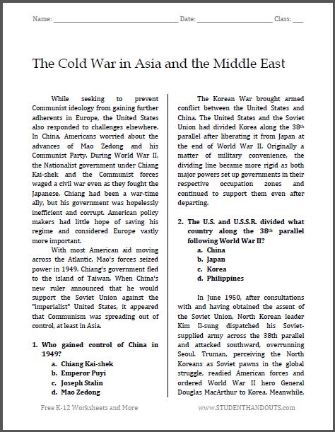 Cold War in Asia and the Middle East Reading with Questions - Free to print (PDF file).