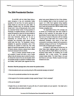 """The 2004 Presidential Election"" Reading with Questions for High School United States History Students"