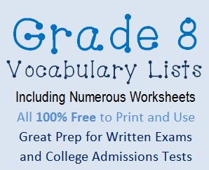 Vocabulary Lists for Grade 8 | Student Handouts