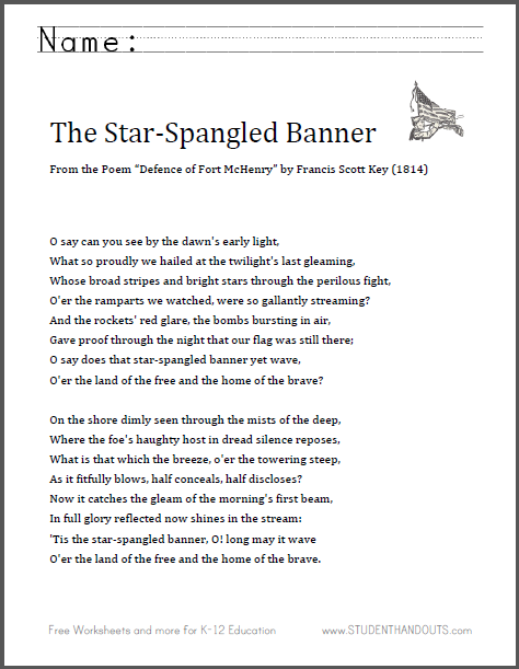 picture regarding National Anthem Lyrics Printable named The Star-Spangled Banner Lyrics College student Handouts