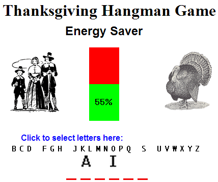 Thanksgiving Energy Saver Game for Kids - Free to play online for grades two and up!