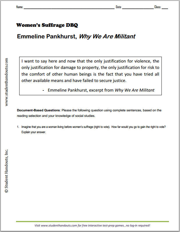 "Emmeline Pankhurst ""Why We Are Militant"" - Free printable DBQ worksheet for high school World History or European History students."