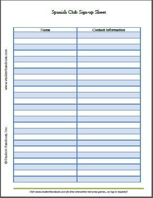 Spanish Club Sign-up Sheet - Free to print (PDF file).