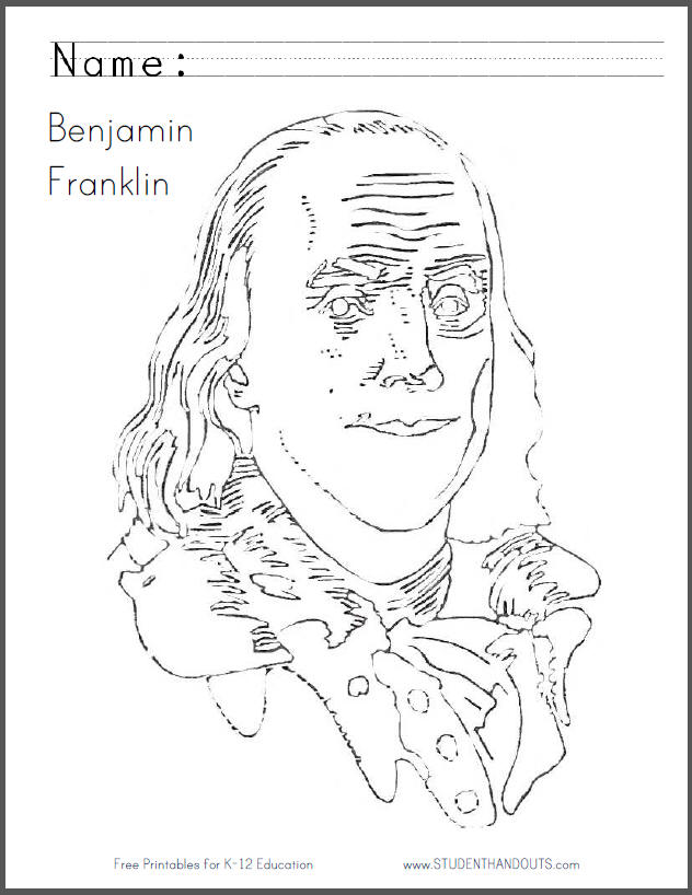 Benjammin Franklin Coloring Page - Free to print (PDF file).
