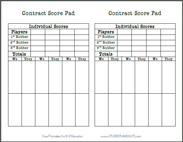 graphic regarding Printable Score Sheet named Absolutely free Printable Deal Bridge Ranking Sheet College student Handouts