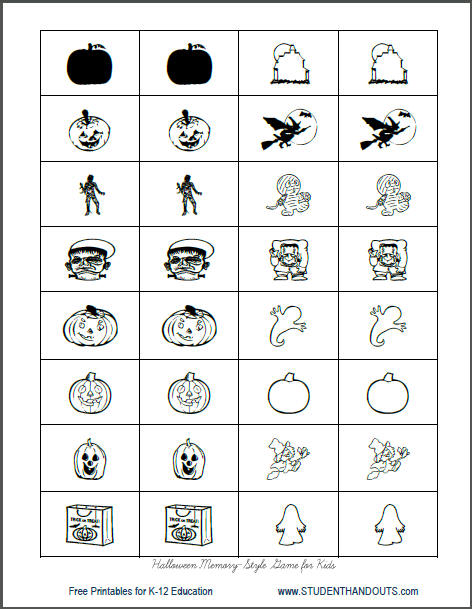 graphic about Printable Memory Cards called Halloween Memory-Design and style Sport in the direction of Print Pupil Handouts