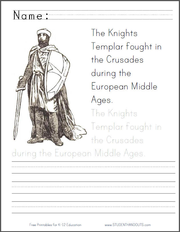 Knight Templar Coloring Page with Handwriting Practice