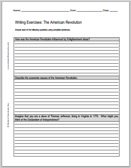 American Revolution Essay Questions - Free to print (PDF files). Three worksheets to choose from.