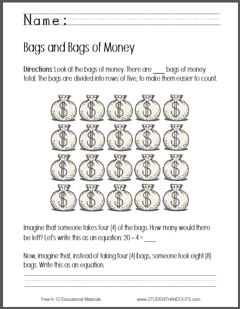 Bags of Money Worksheet - Writing an Equation - Free to print (PDF file) for kindergarten students.