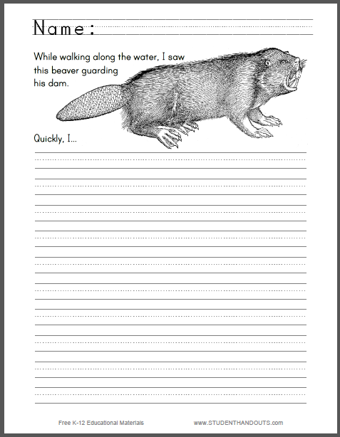 Beaver Guarding a Dam Writing Prompt - Free to print (PDF file) for lower elementary students.