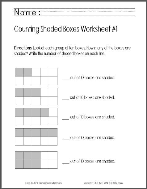 Counting Shaded Boxes to Ten Worksheets - Free to print (PDF files) for kindergarten Mathematics students.