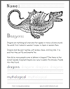 Dragon Mythology Informational Text with Coloring and Spelling/Writing Practice; Grades 1-3