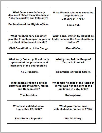 French Revolution Flashcards - Free to print (PDF files) for high school World History or European History students.