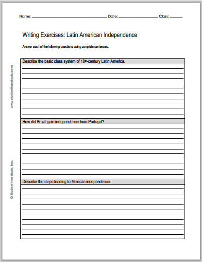 Latin American Independence Writing Exercises - Free printable worksheet (PDF file).
