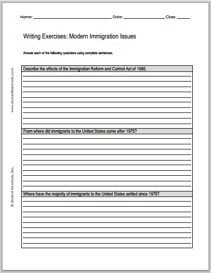 Modern Immigration Issues: Essay Questions - Worksheets are free to print (PDF files) for high school United States History students.