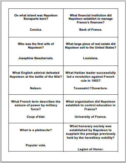 Napoleonic Era Review Cards - Flashcards are free to print (PDF files) for high school World History and European History students.