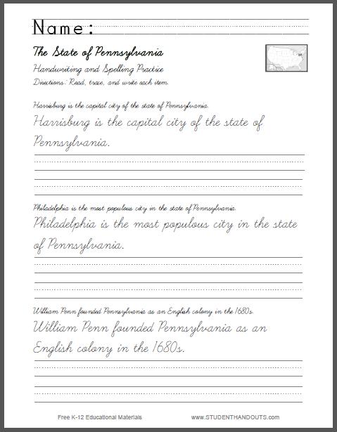 Pennsylvania Sentences Writing In Cursive And Print Student Handouts
