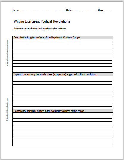 Political Revolutions Essays - Worksheet of questions is free to print (PDF file) for high school World History students.