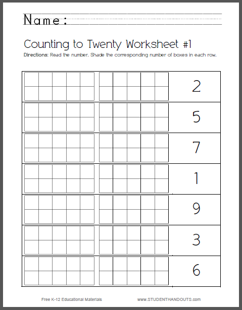 Set of 8 Counting-to-Twenty Worksheets for Kids - Free to print (PDF files) for kindergarten students.