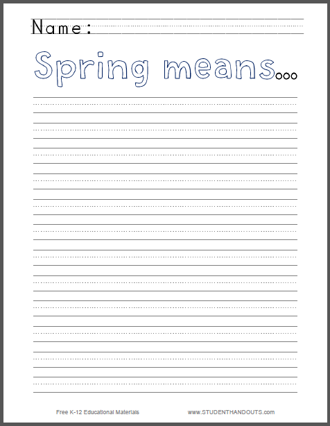 Spring Means... Writing Prompt for Primary Grades - Worksheet is free to print (PDF file).