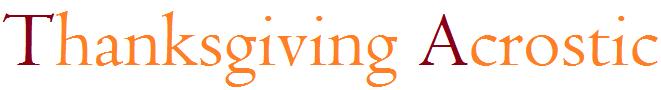 Thanksgiving Acrostic Poem Worksheet