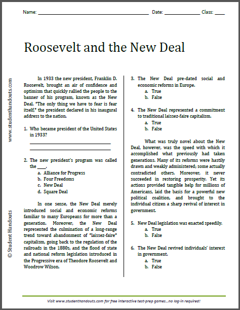 Roosevelt and the New Deal - Free printable reading with questions (PDF file) for high school United States History students.