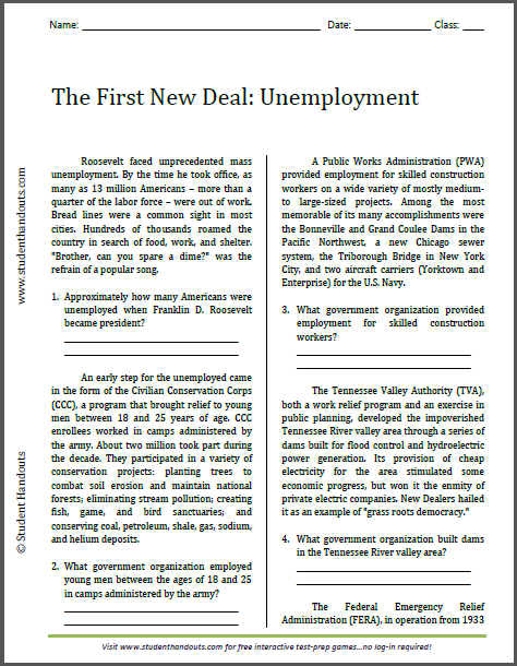 The First New Deal: Unemployment - Free printable reading with questions for high school American History students.