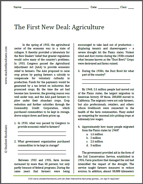 First New Deal: Agriculture - Reading with questions is free to print (PDF file).