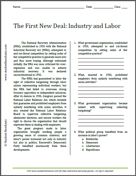 First New Deal: Industry and Labor - Free printable reading with questions (PDF file).