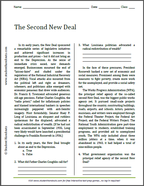 The Second New Deal - Free printable reading with questions (PDF file) for high school United States History classes.