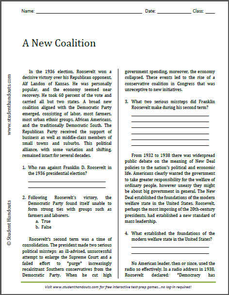 A New Coalition - Free printable reading with questions (PDF file) for high school United States History classes.