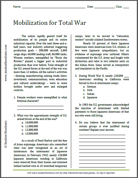 Mobilization for Total War - Free printable reading with questions for high school U.S. History classes.