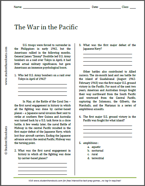 The War in the Pacific - Free printable reading with questions (PDF file) for high school United States History students.
