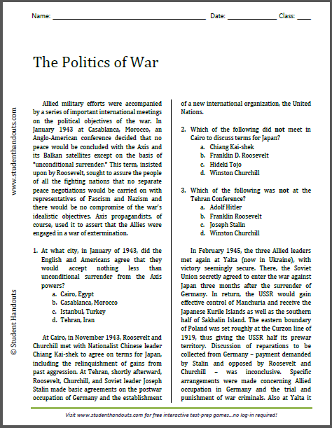 The Politics of War - Free printable reading with questions (PDF file) for U.S. History classes.