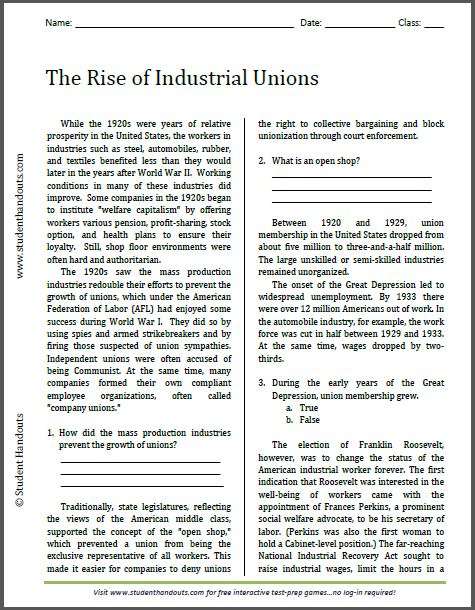 The Rise of Industrial Unions - Reading with questions. Free to print (PDF file) for high school United States History students.