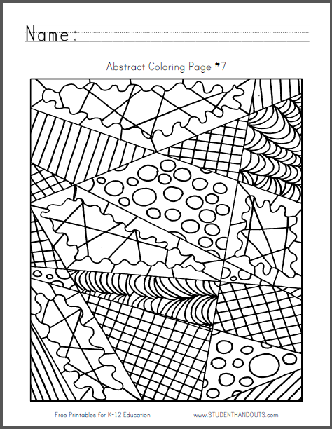 Abstract Coloring Page #7 - Free to print (PDF file).