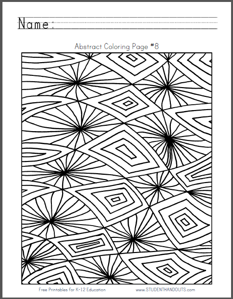 Abstract Coloring Sheet #8 - Free to print (PDF file).