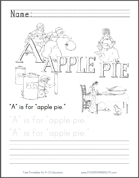A Is For Apple Pie Coloring Page Student Handouts