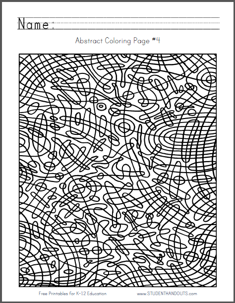 Abstract Coloring Page #4 - Circular checkerboard design is free to print (PDF file).