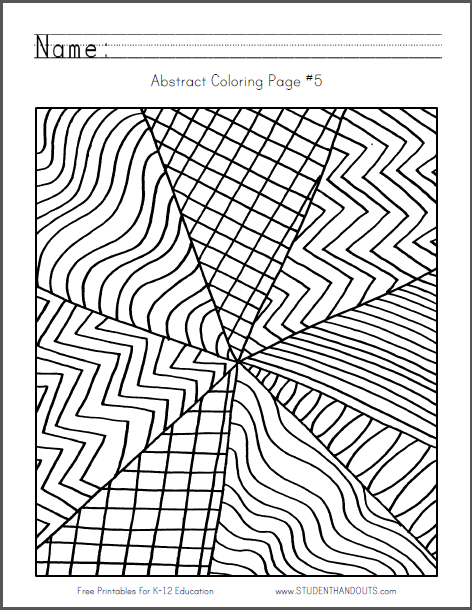 Abstract Design Coloring Page #5 - Free to print (PDF file) for children or adults.
