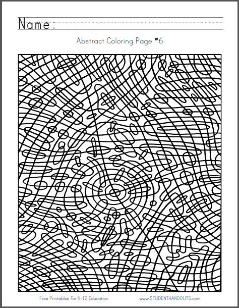 Abstract Coloring Page #6 - Free to print (PDF file).